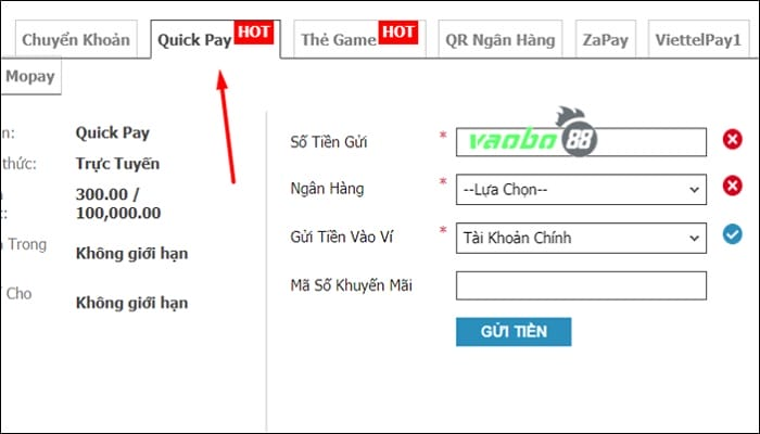 Nạp tiền W88 Quick Pay