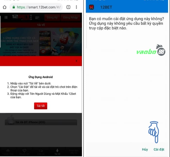 Tải app 12bet android